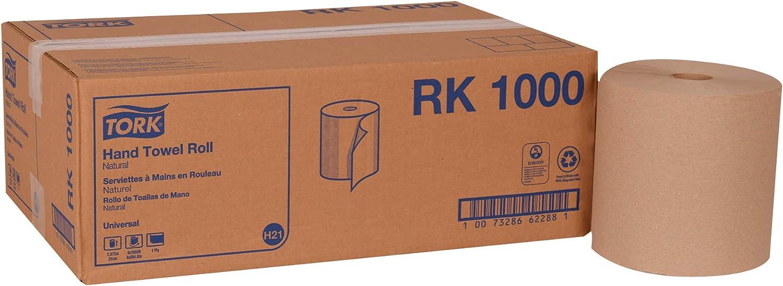 Tork Universal RK1000 Hardwound Paper Roll Towel, 1-Ply, 7.87  Width x 1000' Length, Natural (Case of 6 Rolls, 1000 Per Roll, 6,000 Feet)