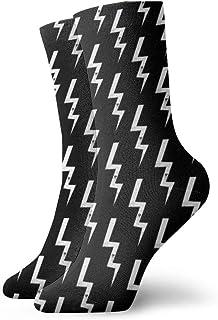 ボルト黒のファッショナブルなカラフルなファンキー柄の綿のドレスソックス11.8インチ