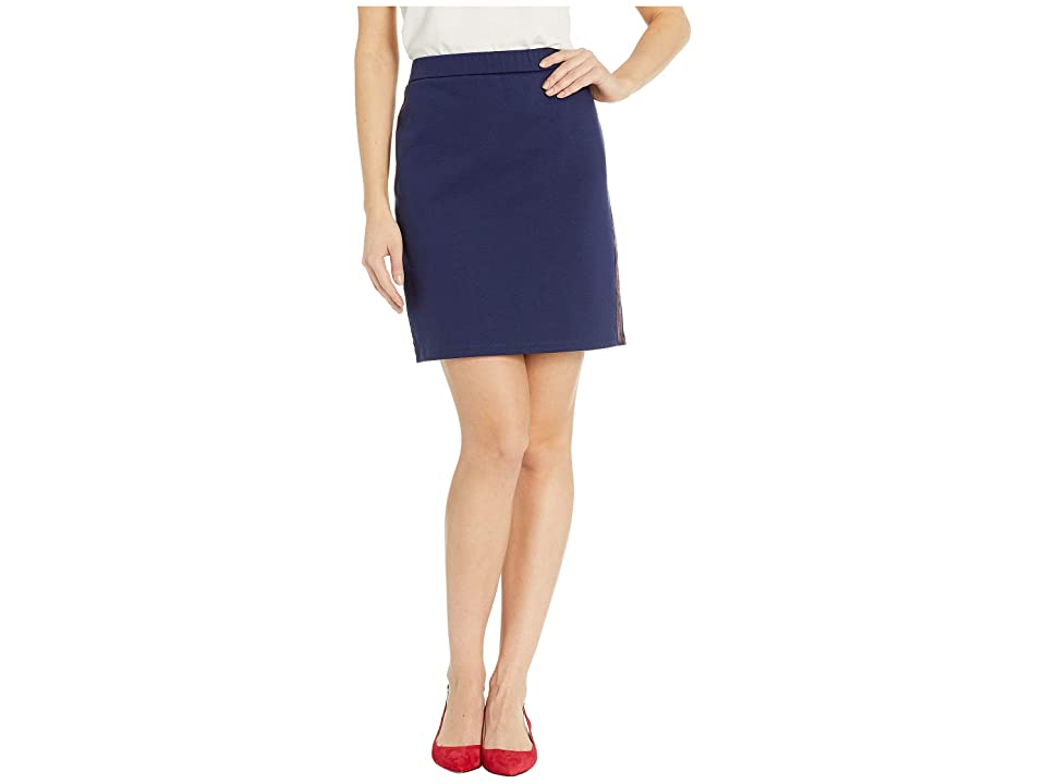 MICHAEL Michael Kors Side Logo Tape Skirt (True Navy/Scarlet) Women