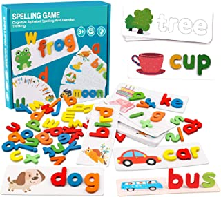 See and Spell Learning Toys - Alphabet Sight Words Flash Cards Matching Shape Letter Games Montessori Preschool STEM Toys ...