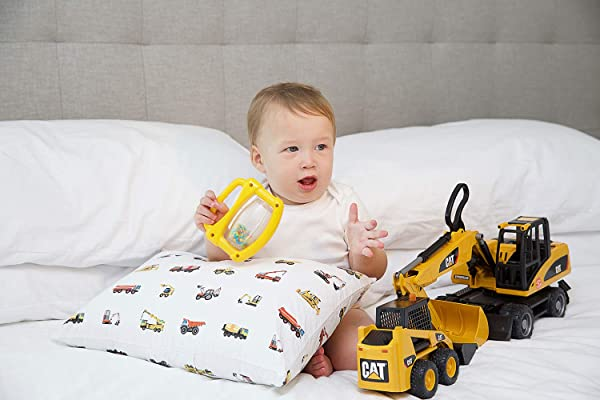 艾迪贝尔 100 有机幼儿枕套适合两个将要采取的次法令》和月 X 19 枕头柔软耐用透气施工卡车