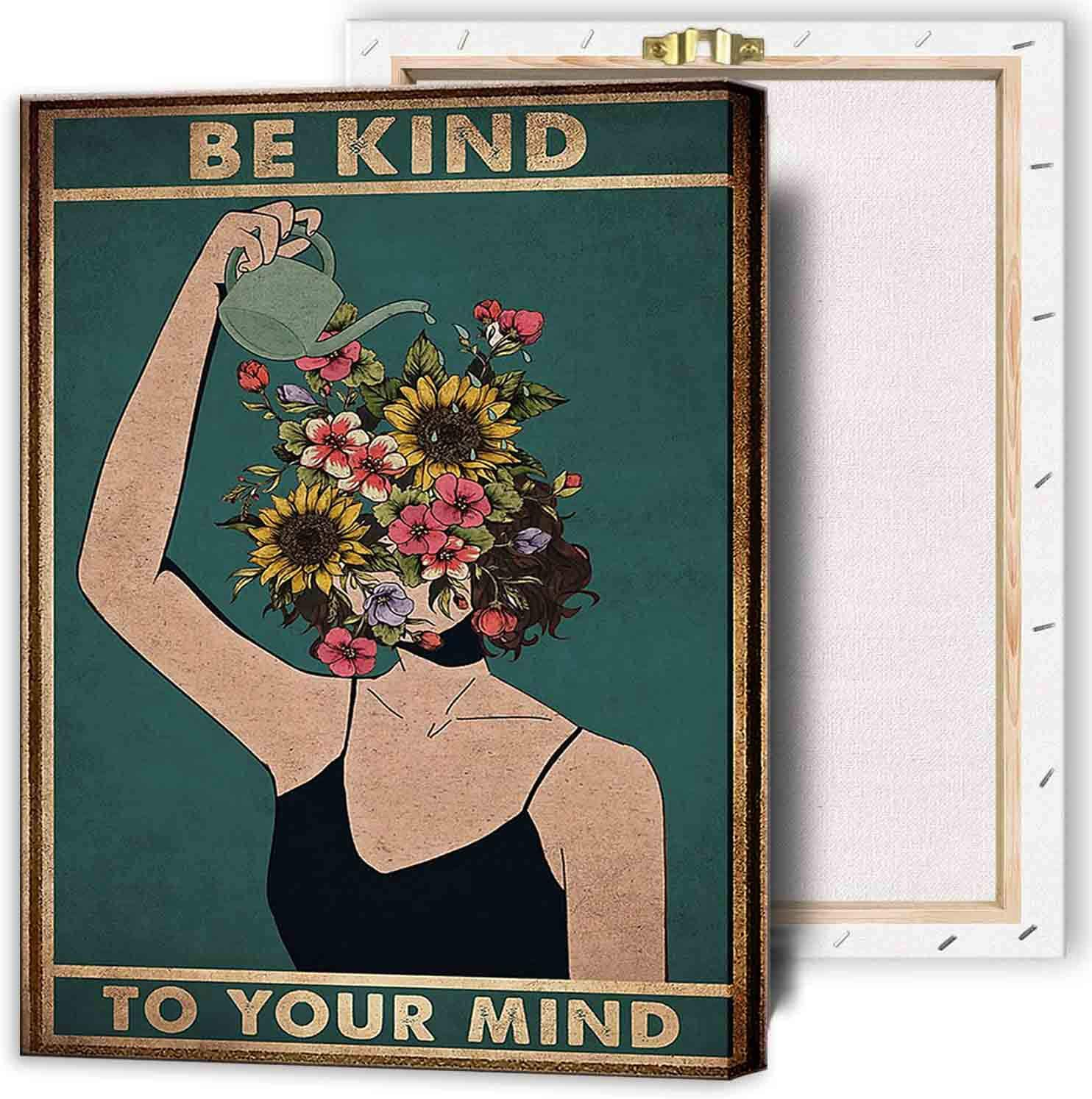 IXMAH Popular standard Super intense SALE - Be Kind To Your Mind Women Poster Wall Canvas Art Print