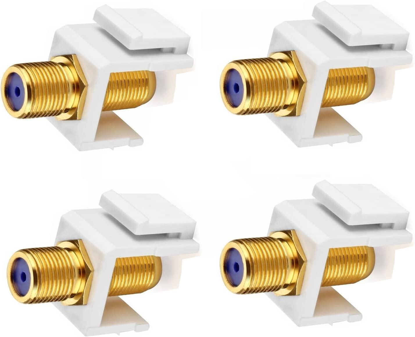 Maxmoral Colorado Springs Mall 4-Pack Gold-Plated RG6 Tucson Mall Keystone Plate Insert Wall Jack