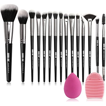 MAANGE-Brochas de Maquillaje Professional 15 Piezas Premium Suaves y Firmes Brochas para Maquillaje Practicas Brochas para Ojos y Brochas Faciales Maquillaje Kabuki