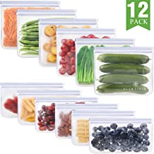 GLAMFIELDS Reusable Food Storage Bags - 12 Pack Leakproof Freezer Ziplock Bags(6 Reusable Sandwich Bags & 6 Reusable Snack Bags) Food Grade PEVA Lunch Bags