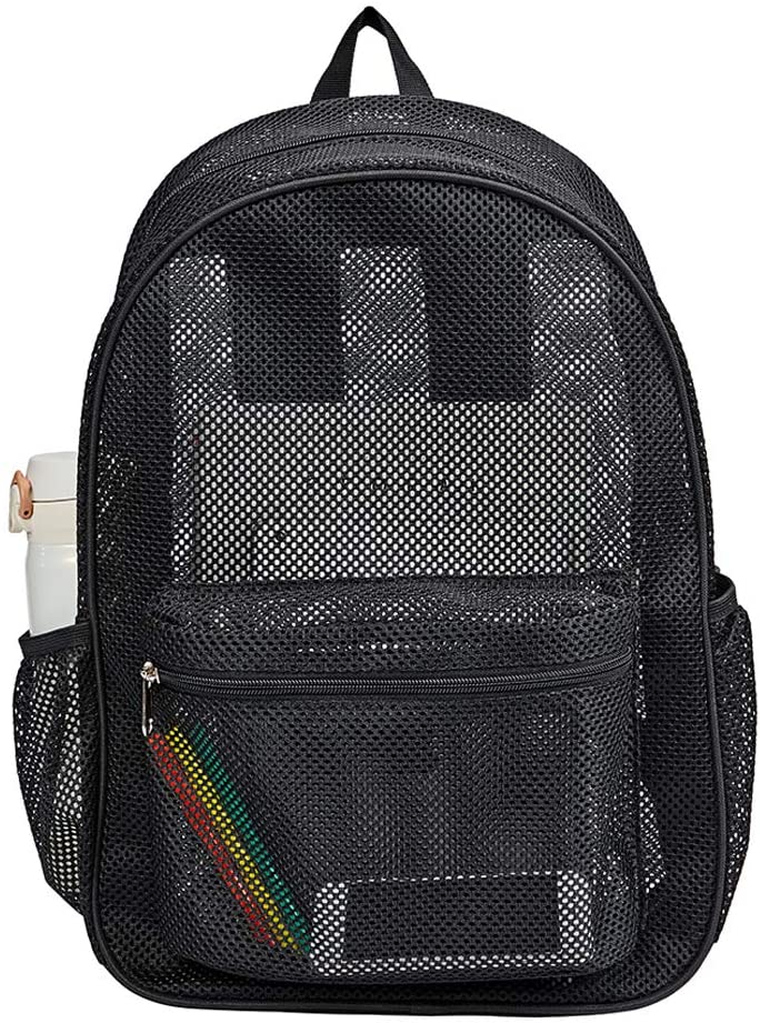 Shipping included Heavy Duty Semi-Transparent Selling rankings Mesh Backpack Through S College See