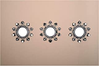 All American Collection New Seperated 3 Piece Decorative Mirror Set, Wall Accent Display (Silver Spike)