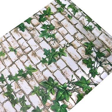 Univocean White Brick and Green Leaf Self Adhesive Peel and Stick Waterproof HD Wallpaper (PVC Vinyl Wallposter, 500 x 45 cm,
