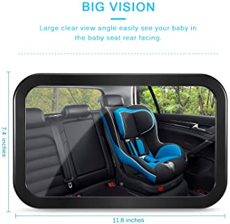 Baby Car Mirror, DARVIQS Car Seat Mirror, Safely Monitor Infant Child in Rear Facing Car Seat, Wide View Shatterproof...