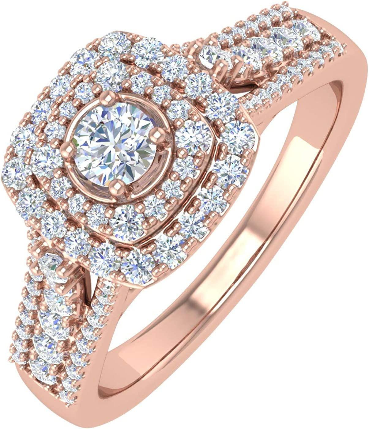 Recommendation 1 2 Carat Cushion cut Halo Ring Super beauty product restock quality top! Diamond Gold 10K Engagement in