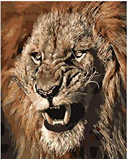 PaintingbyNumbers Adult Child Oil Painting DIY Fierce and Angry Lion King Animal Drawing with Brushes Decor Decorations 16X20 Inch Frameless