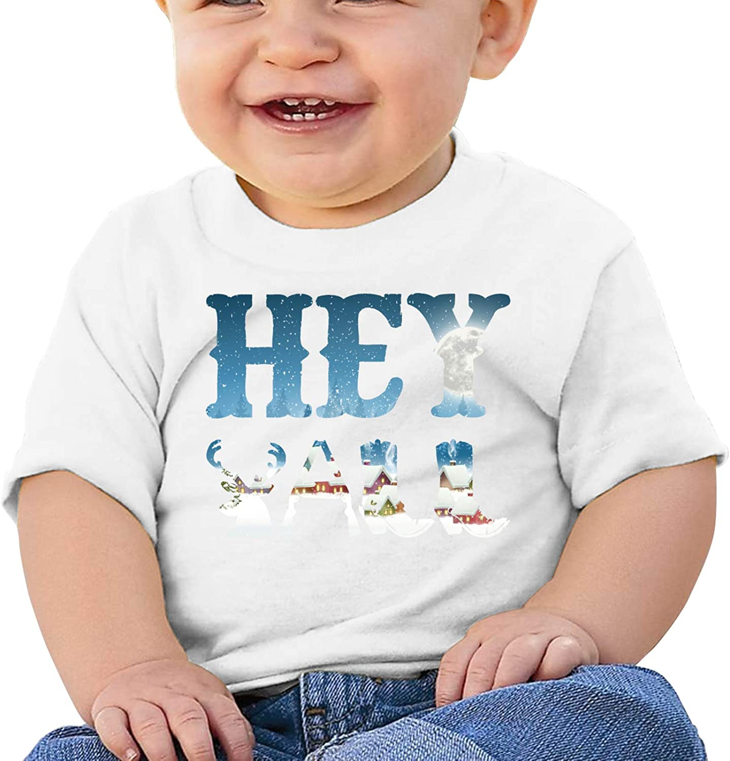 Hey Yall Cute Country Redneck Boys Cotton T-Shirt Toddler Short Sleeve Crew Neck Top