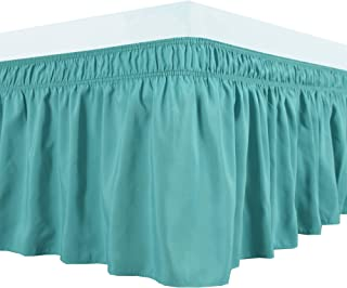 Biscaynebay Wrap Around Bed Skirts Elastic Dust Ruffles, Easy Fit Wrinkle and Fade Resistant Silky Luxrious Fabric Solid Color, Queen Aqua 15 Inches Drop