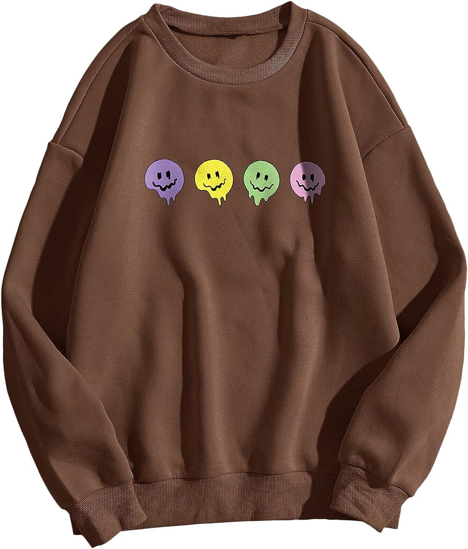 SOLY HUX Women's Plus Size Cartoon Print Long Sleeve Pullover Top Sweatshirt