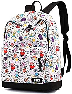 Korea BTS cartoon backpack school student children canvas bookbag casual shopping shoulder bag
