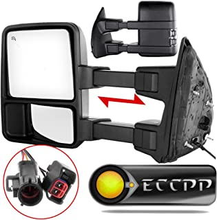 ECCPP Towing Mirror Pair Side Mirror Replacement for 1999-2002 Ford F250 F350 F450 F550 Super Duty with Power Heated Telescopic Manual-Folding - Texture Black