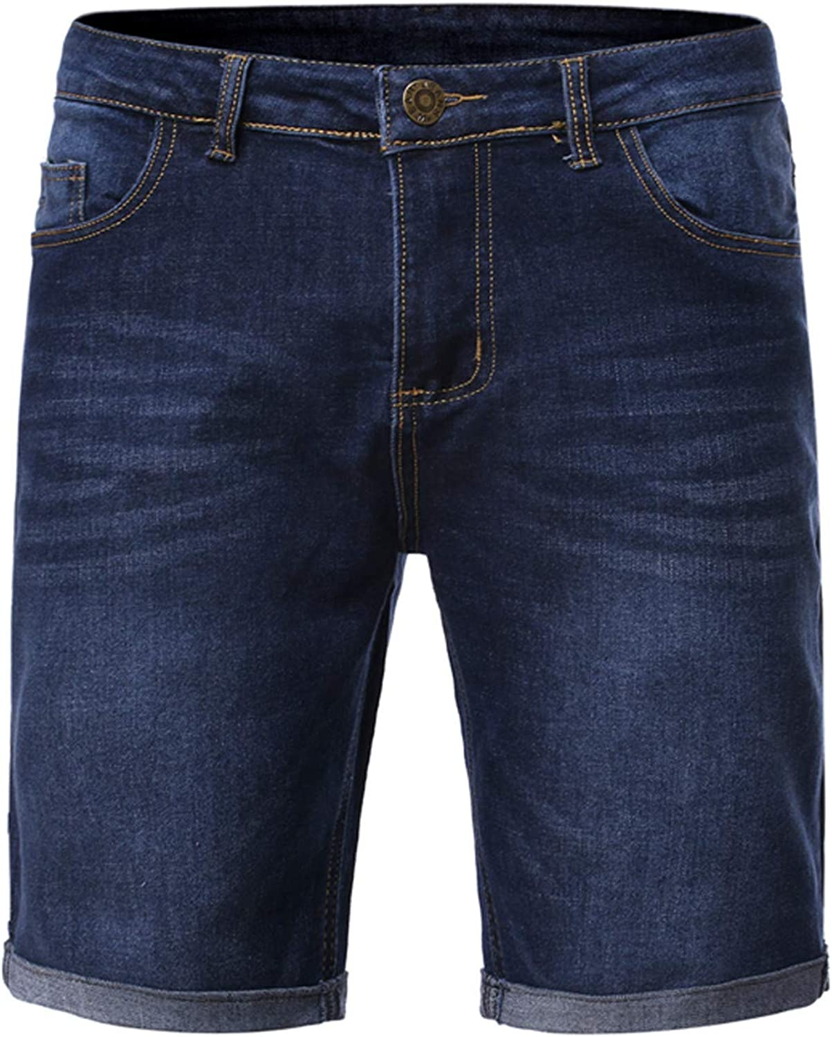 Mens Casual Denim Shorts Classic Relaxed Cargo Short Loose Straight Denim Washed Blue Denim Shorts Five Part Trousers