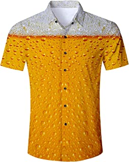 RAISEVERN Men's Tropical Hawaiian Shirt Casual Button Down Shirt/Long Sleeve Dress Shirt