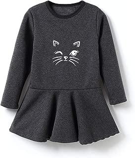 IRELIA Winter Girls Dress Fleece Lined Print Cat Tops
