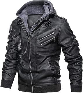 Landscap_Men Leather Motorcycle Jacket Hoodie Zipper Fashion Vintage Casual Outdoor Windbreaker Jacket Coat