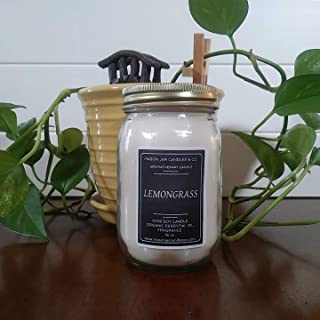 Aromatherapy Candle | Lemongrass Essential Oil Candle | 16 oz 100% Soy Candle | 100% Essential Oil Candle
