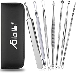 7-Piece Blackhead Remover Kit - Pimple Comedone Extractor Tool set for Facial Acne and Treatment for Blemish, Whitehead Popping, Zit Removing for Risk Free Nose Face Skin with Metal Case