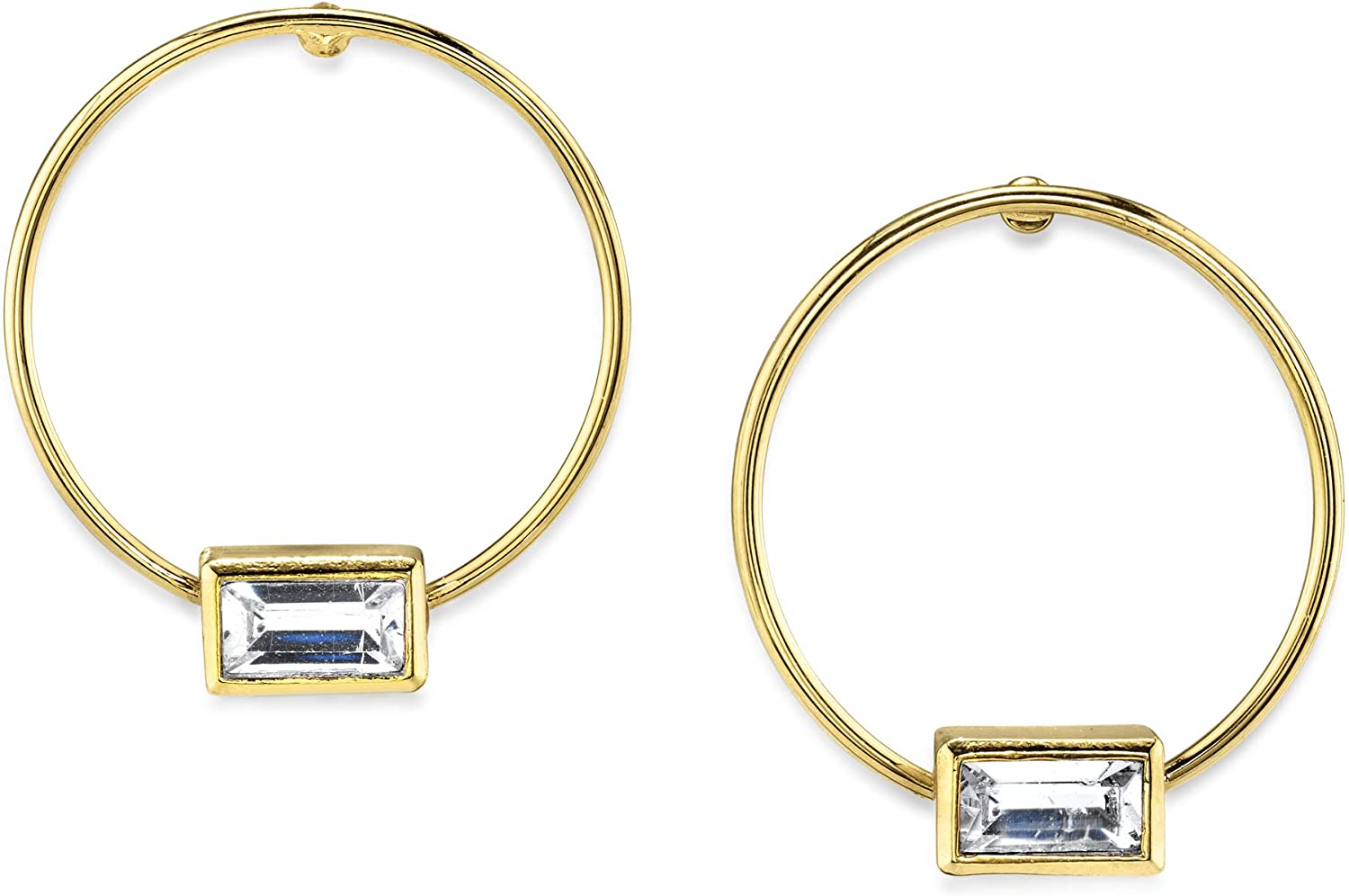 1928 Jewelry 14K Gold Dipped Rectangle Crystal Hoop Stainless Steel Post Earrings