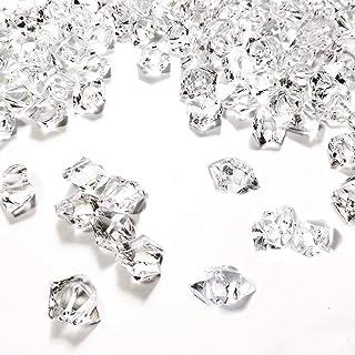 KATELER Clear Fake Crushed Ice Rocks, 160 PCS Fake Diamonds Plastic Ice Cubes Acrylic Clear Ice Rock Diamond Crystals Fake Ice Cubes Gems for Decoration Wedding Display Vase Fillers