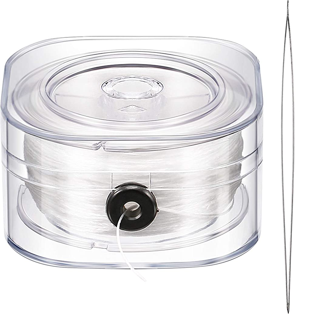 0.8 mm Elastic Cord Clear Stretchy Bracelet Beading Thread with Beading Needle for Jewelry Bracelet Making (Clear, 90 M)