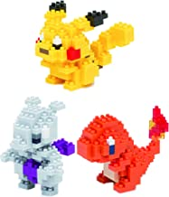 Nanoblocks - 3 Sets - Pikachu, Hitokage and Mewtwo - Adjustable Pokemon Characters (Japan Import)