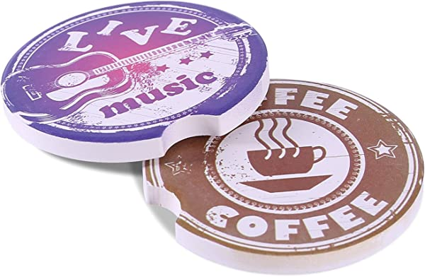 Kartis Car Coasters For Drinks 2 Piece Absorbent Stone Car Coaster Set For Drink Music And Coffee Style Drink Spills Coasters