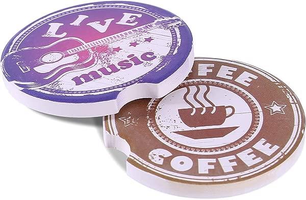 Kartis 汽车杯垫饮料 2 件吸水石头汽车杯垫套装饮料音乐和咖啡风格饮料溢出杯垫