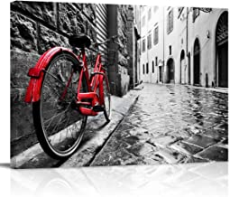 Canvas Print Wall Art Vintage Red Bike on Cobblestone Street in The Old Town Picture Painting Modern Giclee Framed Artwork for Office/Livingroom/Bedroom Decor 12x16in