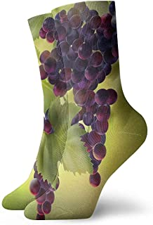 Novedad Divertido Crazy Crew Sock Uvas con Hojas Impreso Sport Calcetines Deportivos 30cm de largo Calcetines de regalo personalizados