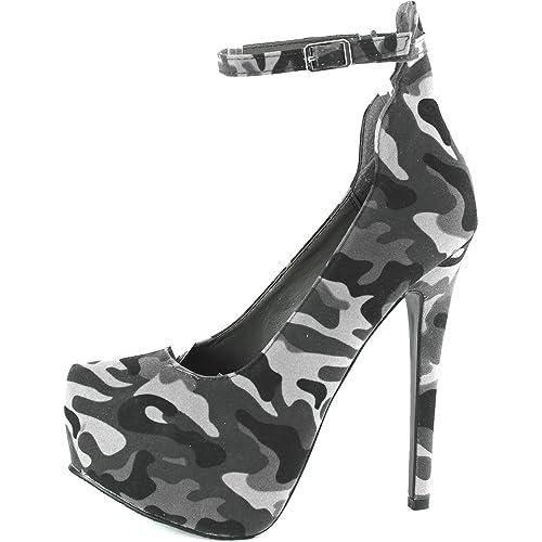 05a459befbbc3 Breckelle's Women's MARISA-34 Platform High Heel Stiletto Ankle Strap Pump