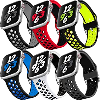 MAZTRON 6-Pack Silicone Band Compatible with Apple Watch 38mm 40mm 42mm 44mm size, Soft Breathable Sport Strap, Replacemen...
