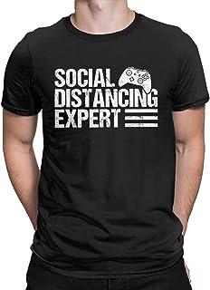 Social Distancing Expert Vintage Funny T-Shirt Gaming Gamer Tees Tops for Men