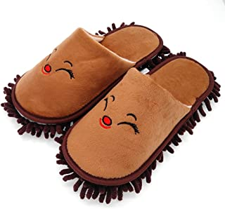 Selric Smiling Fox Super Chenille Microfiber Washable Mop Slippers Shoes Coffee, Floor Dust Dirt Hair Cleaner, Multi-Sizes Multi-Colors Available 9 7/9 Inches Size:5.5-8.5.