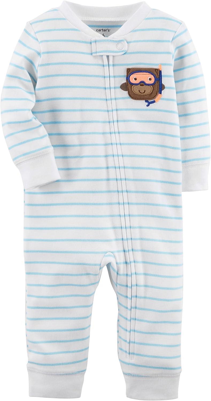 Carter's Infant Boys Blue Stripe Scuba Monkey Footless Sleeper Cotton Pajamas