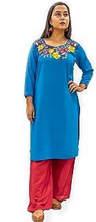 KADAAII Women Embroidery Rayon Aqua Blue kurta With Red Palazzo Set