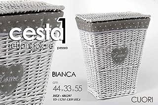 BIANCHERIA RETTANGOLARE BAGNO HOME BIANCO 44x33x55CM CESTA VIMINI P