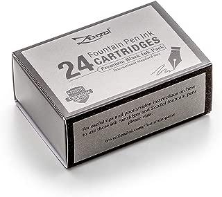 Zenzoi Fountain Pen Ink Cartridge Refills- 24 Bulk Premium Black Case- Professional Grade, International Size, Non-Toxic Ink- Smooth, Blotch-Free Writing for Luxury Pens – German Nibs