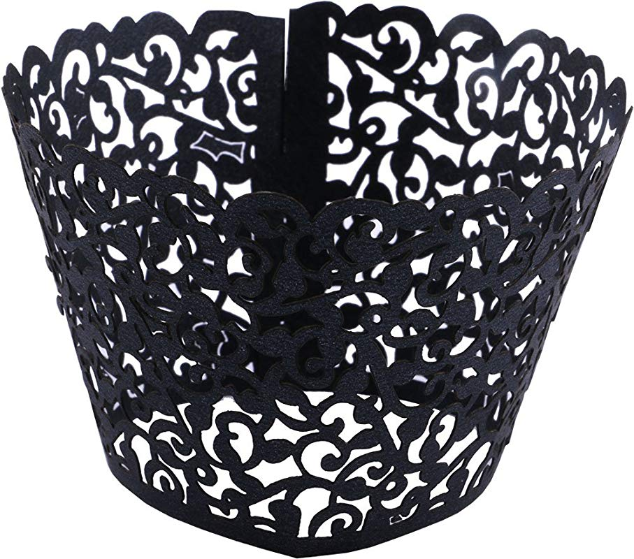 Lace Cupcake Wrappers DriewWedding 100pcs Artistic Bake Cake Paper Filigree Little Vine Lace Laser Cut Liner Bake Cake Paper Cups Baking Cake Cup Wraps Muffin CaseTrays Black
