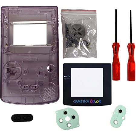 eJiasu gbc Shell Replacement, Full Replace Parts Housing Shell Pack Replacement for GBC Gameboy Color (Transparent Purple Case with Lens and Screwdriver)