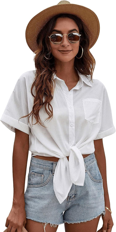 Milumia Women's Button Down Collared Shirt Cuffed Short Sleeve Basic Work Blouse Top