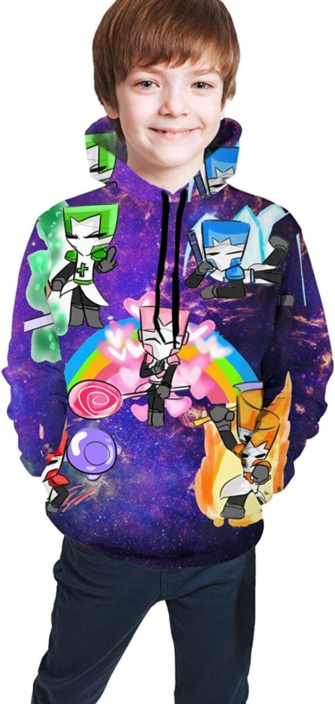 Unisex Top Castle-Crashers Hoodies Youth Sweatshirt Fashion 3D Printed Jacket for Boys/Girls 10-12 Years