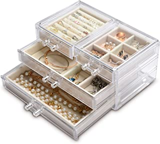 Acrylic Jewelry Box 4 Drawers,Clear Jewelry Organizer Velvet Rings Necklaces Earring Bracelets Display Case Stand Holder Tray for Women Girls (Beige)