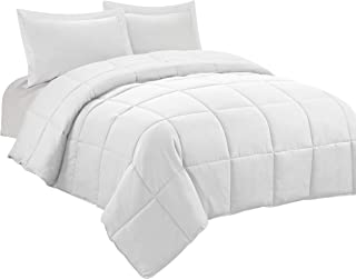 HIG 3pc Down Alternative Comforter Set - All Season Reversible Comforter with Two Shams - Quilted Duvet Insert with Corner Tabs -Box Stitched –Hypoallergenic, Soft, Fluffy (King/Cal King, Pure White)