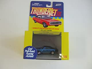 Johnny Lightning ThunderJet 500 - HO Scale - Pull Back Action Dodge Charger Metallic Candy(Chrome) BLUE with Bumblebee Stripes