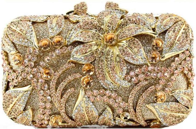 ZYLE Diamond Evening Bag Lady Stereo Flower Dinner Clutch Bag Chain Handbag Bride Bridesmaid Bag Evening Bags (Color : Champagne)